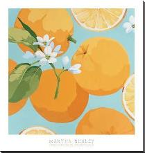Fresh Oranges art print poster with block mounting