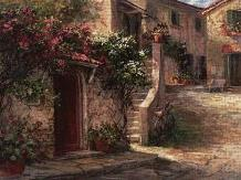 Magliano Courtyard art print poster transferred to canvas