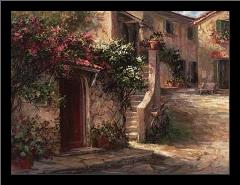 Magliano Courtyard art print poster with simple frame