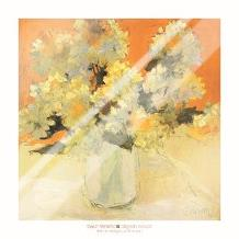 White Hydrangea Bouquet art print poster with laminate