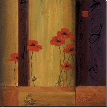 Poppy Tile I art print poster with block mounting