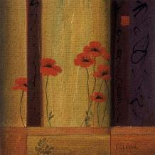 Poppy Tile I art print poster transferred to canvas