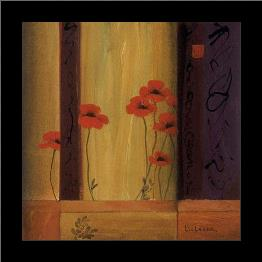Poppy Tile I art print poster with simple frame