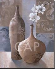 Silver Orchids I art print poster with block mounting