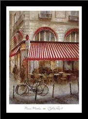 Cafe De Paris II art print poster with simple frame