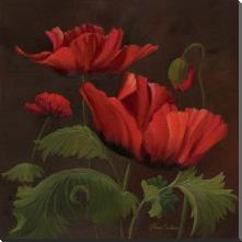 Vibrant Red Poppies II art print poster with block mounting