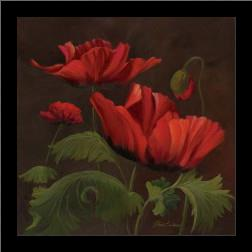 Vibrant Red Poppies II art print poster with simple frame