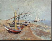 Boats At Saint-Maries, 1888 art print poster with block mounting