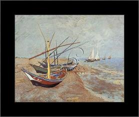 Boats At Saint-Maries, 1888 art print poster with simple frame