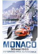 Grand Prix Monaco 30 Mai 1965 art print poster with laminate
