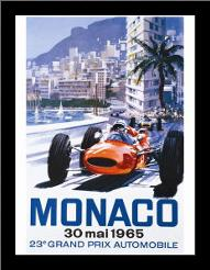 Grand Prix Monaco 30 Mai 1965 art print poster with simple frame