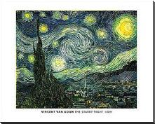 Van Gogh - Starry Night art print poster with block mounting