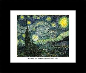Van Gogh - Starry Night art print poster with simple frame