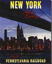 New York - Pennsylvania Railroad art print poster with block mounting
