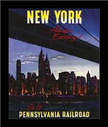 New York - Pennsylvania Railroad art print poster with simple frame