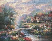 Country Bridge art print poster transferred to canvas