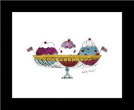 Ice Cream Dessert, C1959 (3 Scoop) art print poster with simple frame