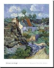 Houses At Auvers art print poster with block mounting