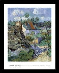 Houses At Auvers art print poster with simple frame