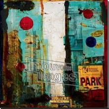 New York, 2000 art print poster with block mounting