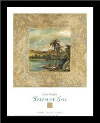 Treasure Isle 1 art print poster with simple frame
