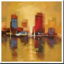 City Reflections I art print poster with block mounting