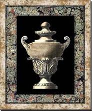 Urn on Marbleized Background I art print poster with block mounting