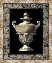 Urn on Marbleized Background I art print poster transferred to canvas