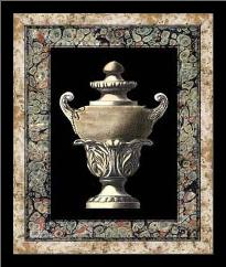 Urn on Marbleized Background I art print poster with simple frame
