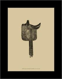 Antique Saddle III art print poster with simple frame