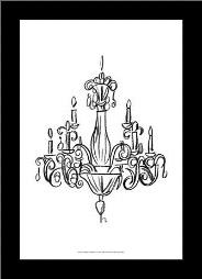 Graphic Chandelier I art print poster with simple frame