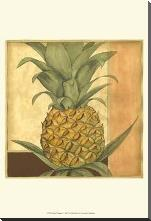 Golden Pineapple I art print poster with block mounting