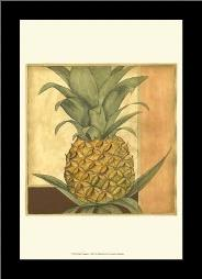 Golden Pineapple I art print poster with simple frame