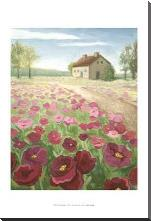 Pink Meadow art print poster with block mounting