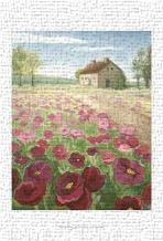 Pink Meadow art print poster transferred to canvas