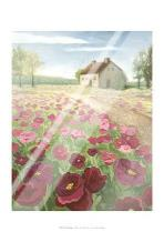 Pink Meadow art print poster with laminate
