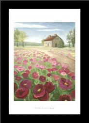 Pink Meadow art print poster with simple frame