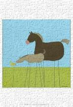 Stick-Leg Horse II art print poster transferred to canvas