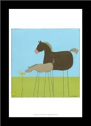 Stick-Leg Horse II art print poster with simple frame