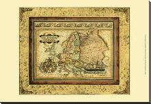 Crackled Map Of Europe art print poster with block mounting