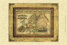 Crackled Map Of Europe art print poster transferred to canvas