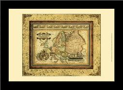 Crackled Map Of Europe art print poster with simple frame