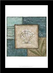 Large Shell Montage II art print poster with simple frame