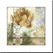 Globeflower Fresco I art print poster with block mounting