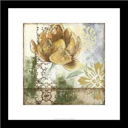 Globeflower Fresco I art print poster with simple frame