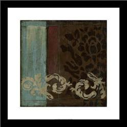 Damask Tapestry II art print poster with simple frame
