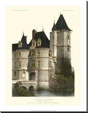Petite French Chateaux XII art print poster with block mounting
