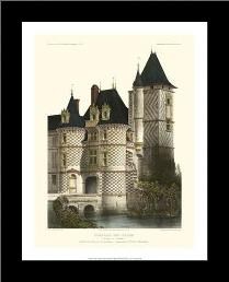 Petite French Chateaux XII art print poster with simple frame