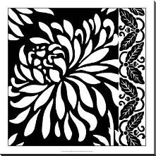 Graphic Chrysanthemums I art print poster with block mounting