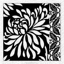 Graphic Chrysanthemums I art print poster transferred to canvas